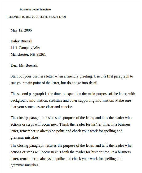 32 Business Letter Template Free Premium Templates