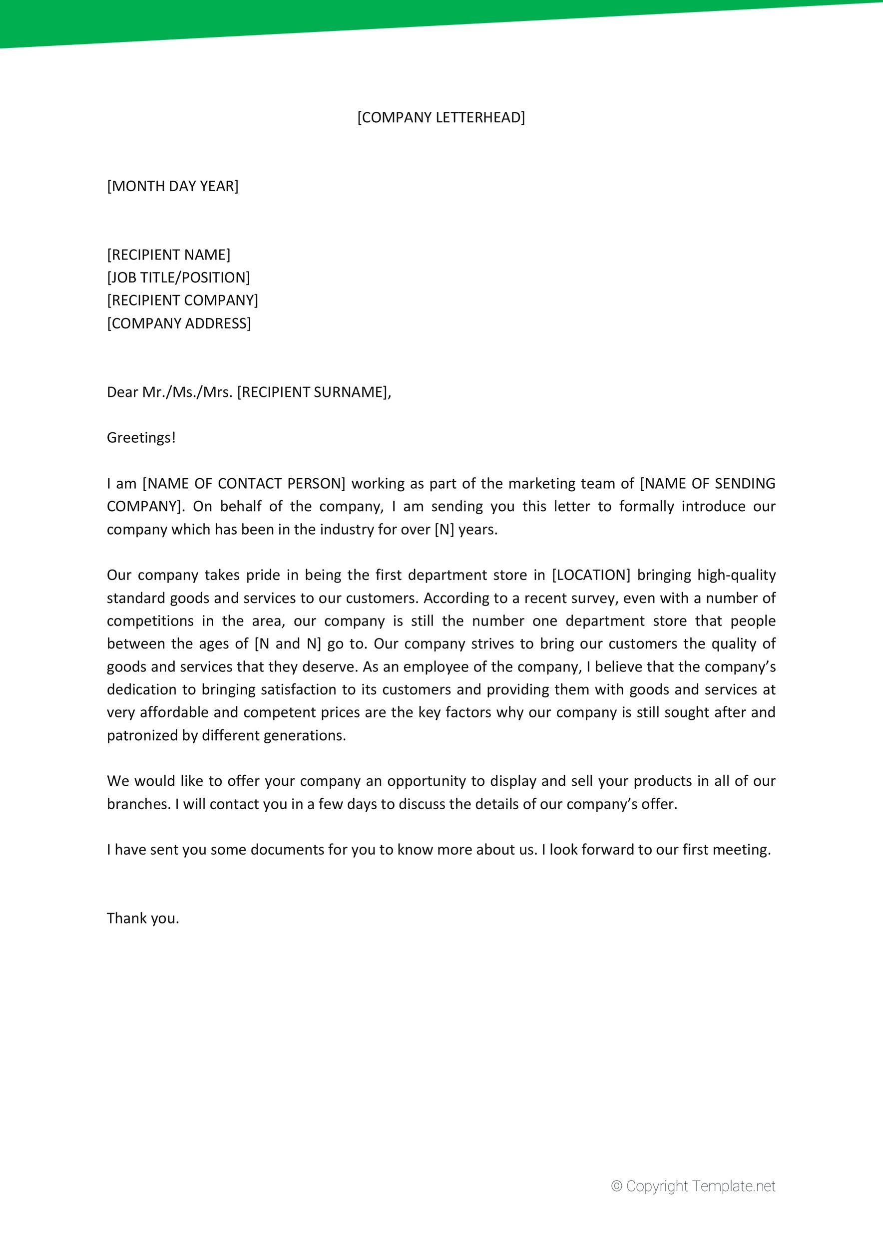 34 Free Business Introduction Letters PDF MS Word