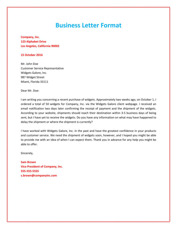 Writing Business Letter Format