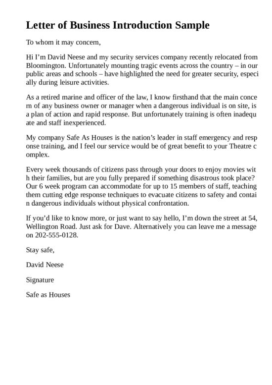 5 Business Introduction Letter Templates Free Sample