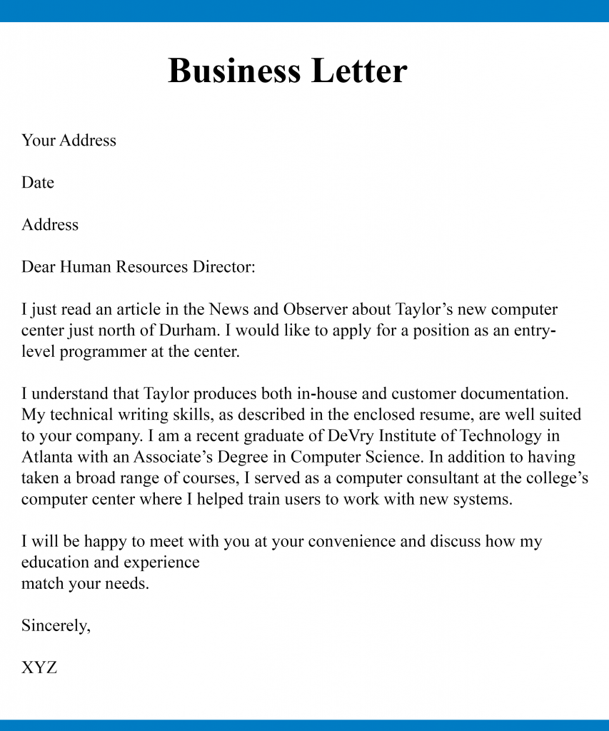 5 Free Example Of Business Letter Writing Templates