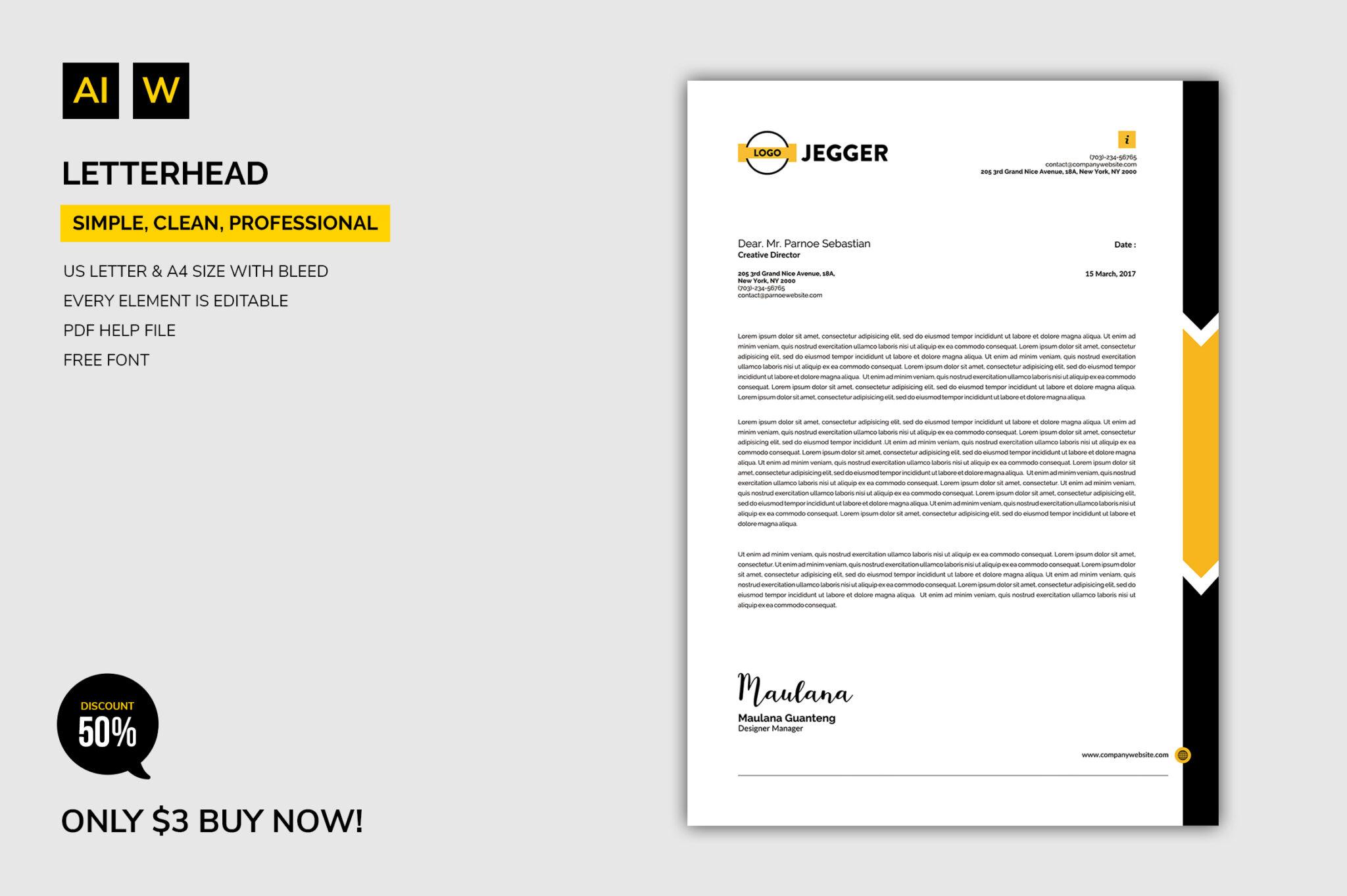 50 Editable Letterhead Business Template Design Cheap Price