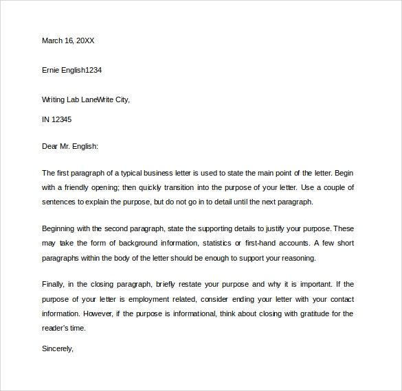 8 Sample Closing Business Letters Sample Templates