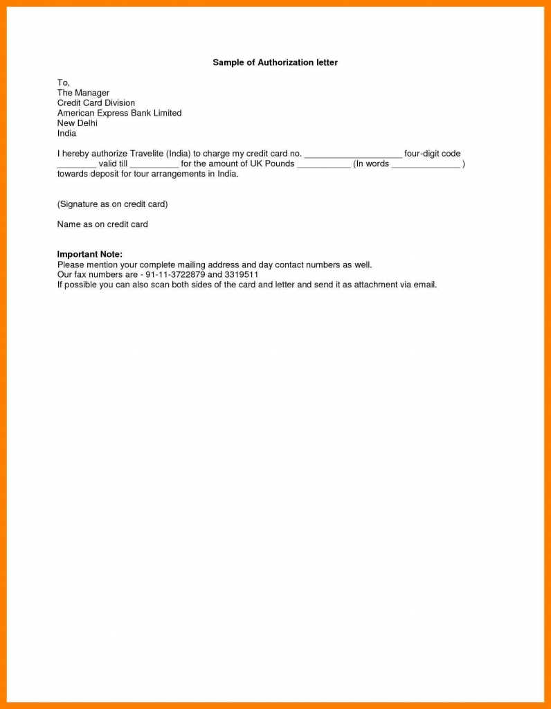 Authorization Letter Sample Template Business Format