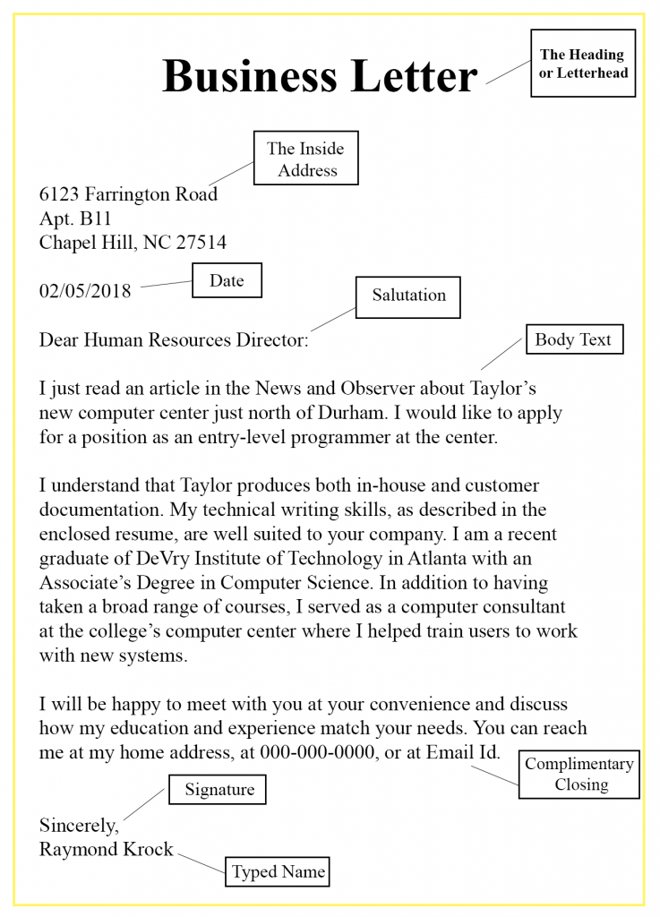 Basic Parts Of A Business Letter With Example