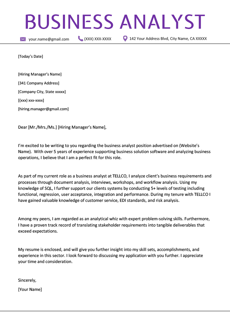 Business Analyst Cover Letter Example Writing Tips