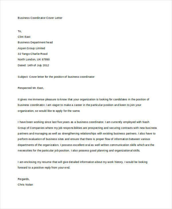 Business Cover Letter 10 Free Word PDF Format Download