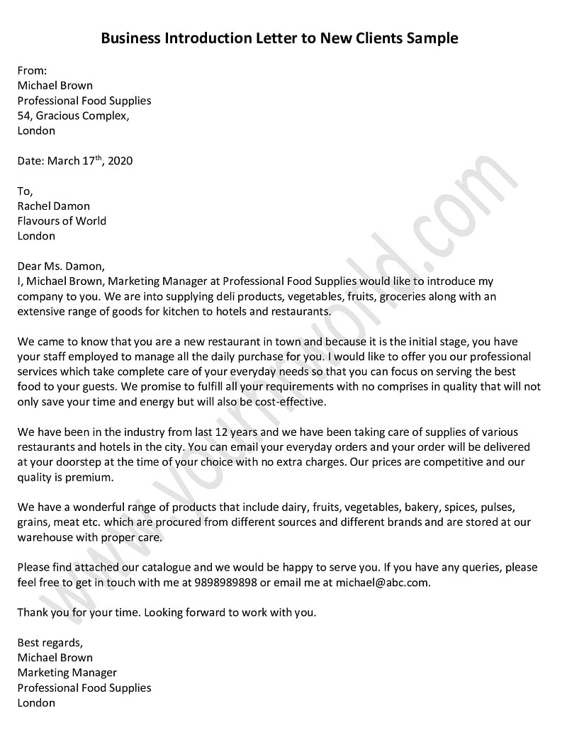 Business Introduction Letter To New Clients Sample
