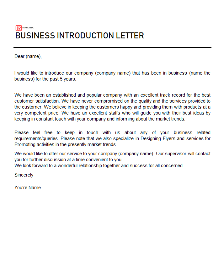 Business Introduction Letters Free Templates PDF WORD