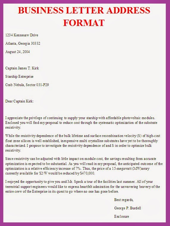 Business Letter Business Letter Address Format