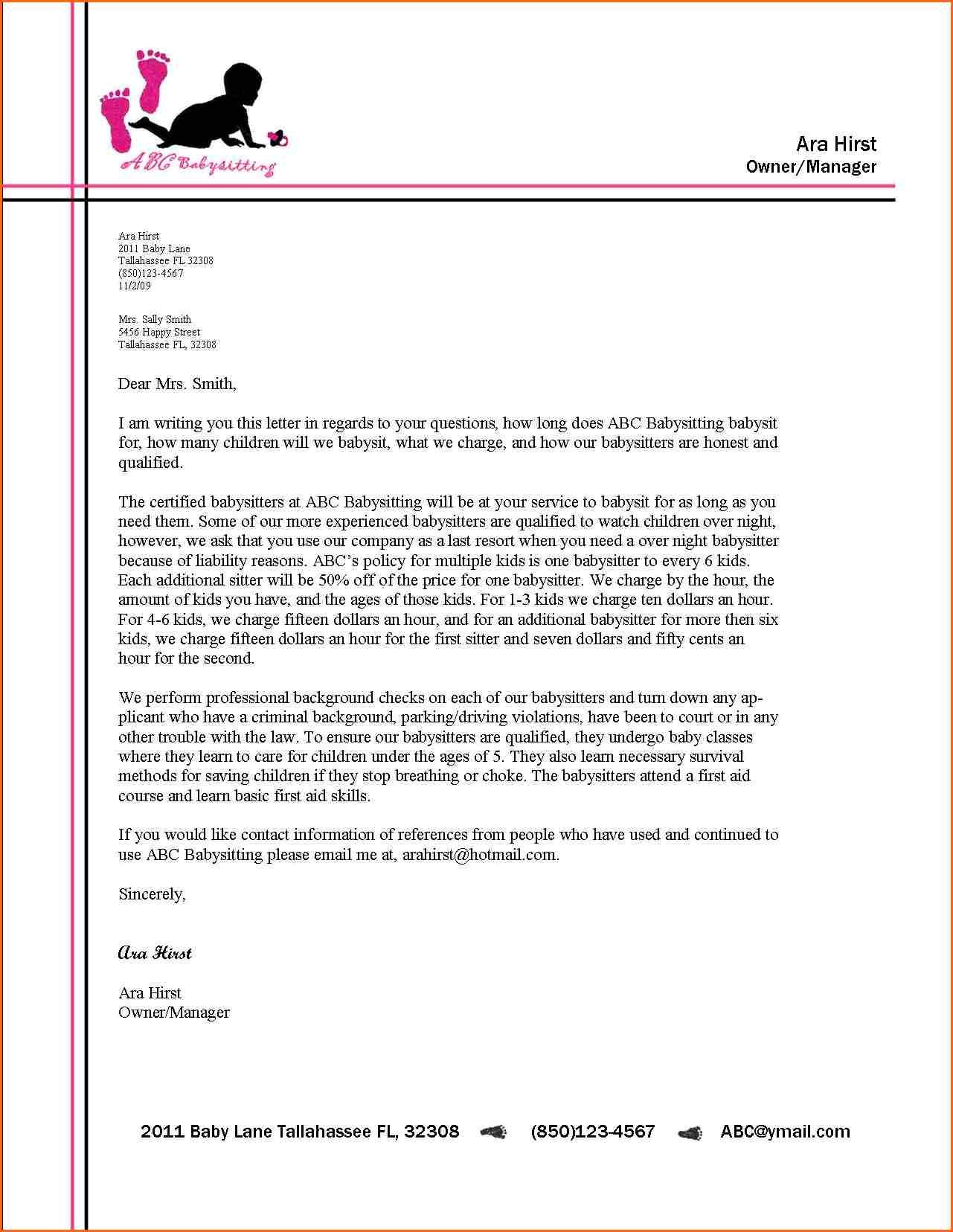 Business Letter Examples Free Format For Students Example