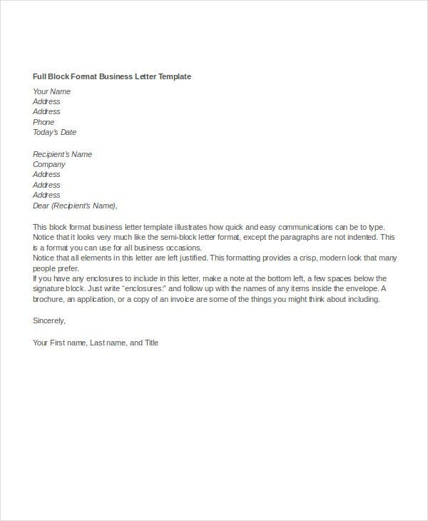 Business Letter Format 15 Free Word PDF Documents