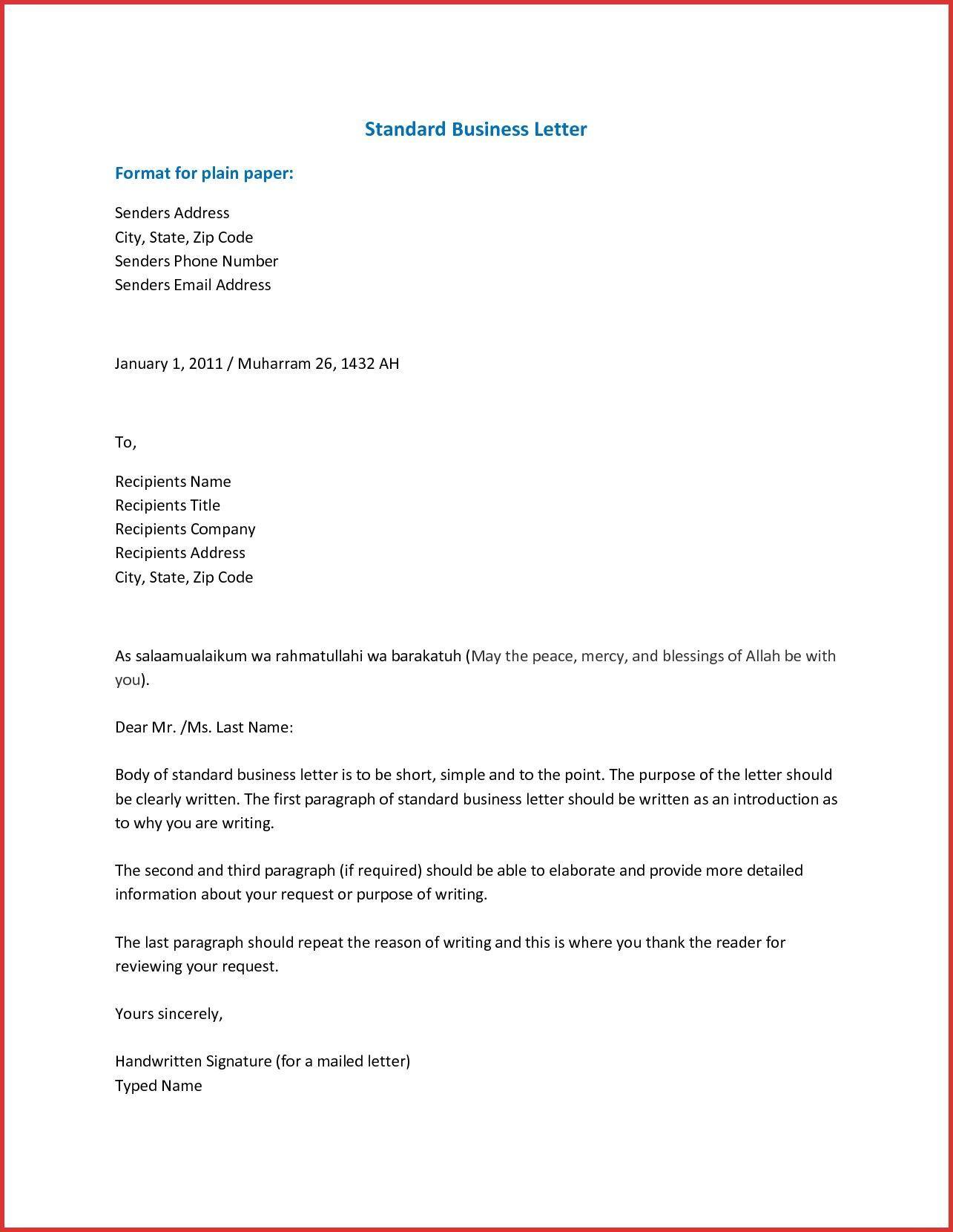 Business Letter Format BusinessLetterFormatInWord Http