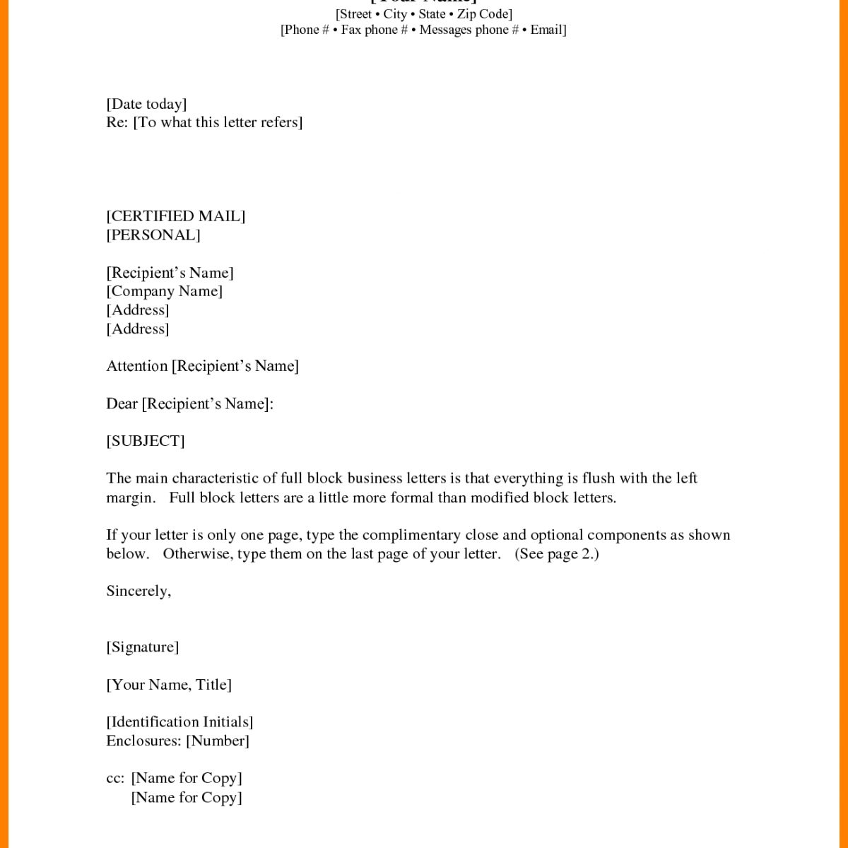 Business Letter Format Cc Recent Pics And Enclosure With