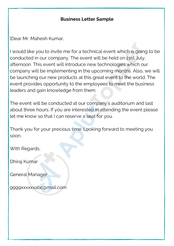How To Write A Business Letter Email