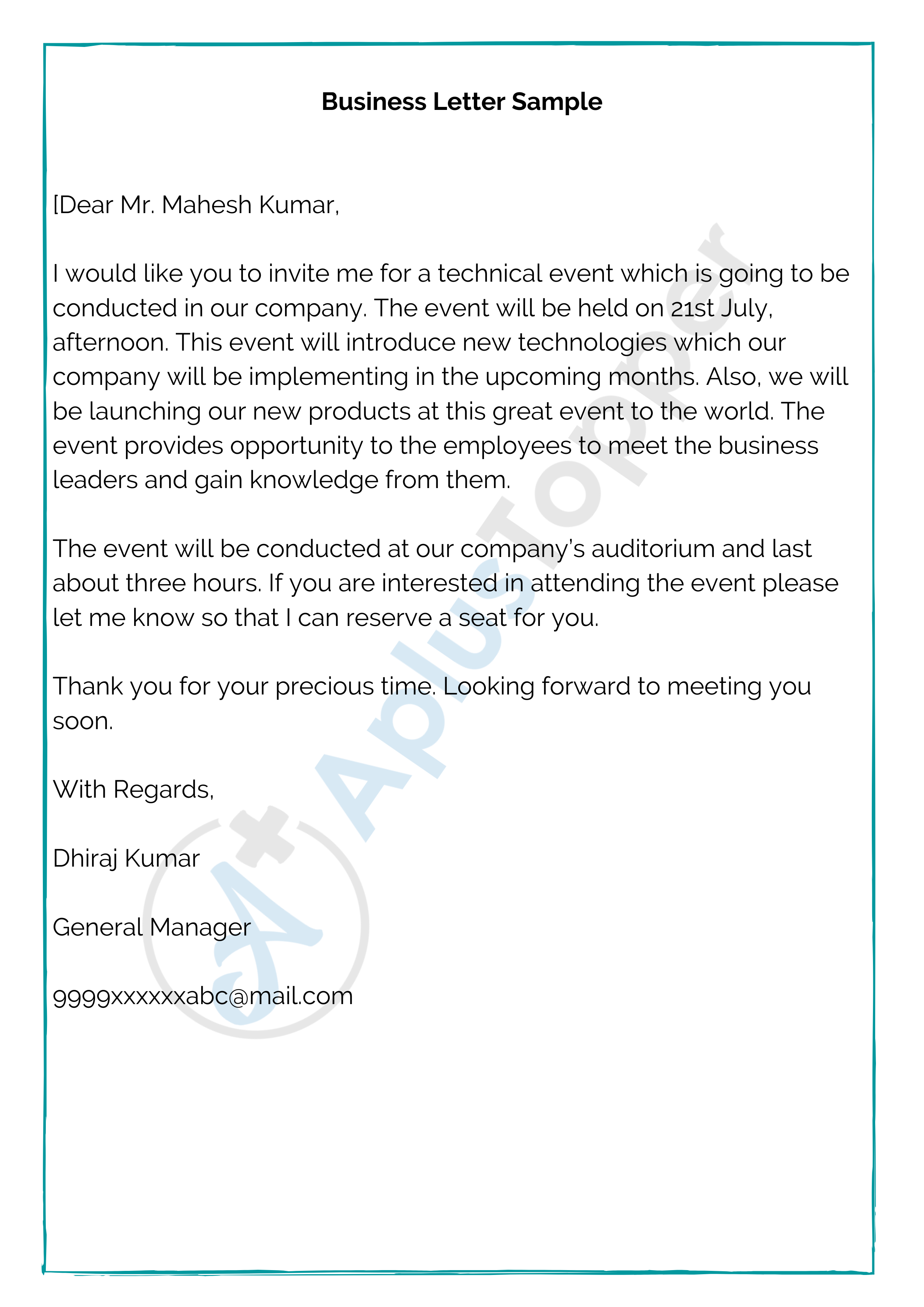 Business Letter Format Samples How To Write Business