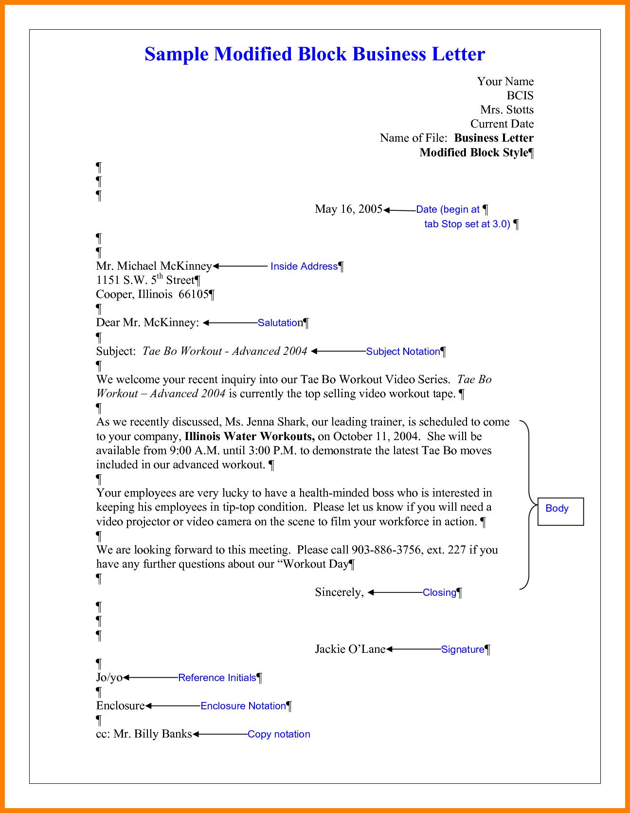 Business Letter Modified Block Style Format Best Regarding