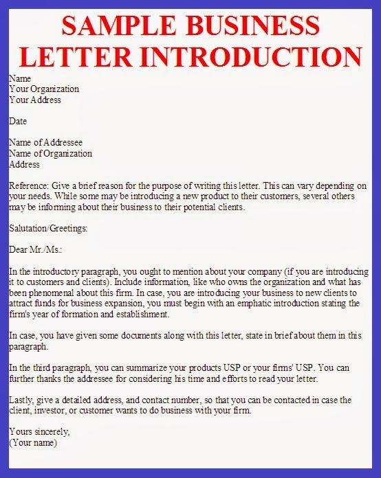 Business Letter Sample Business Letter Introduction