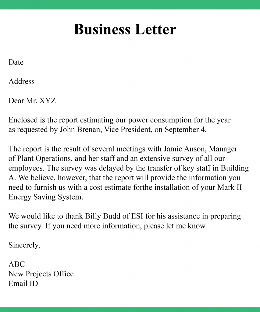 Business Letter Template Business Letter