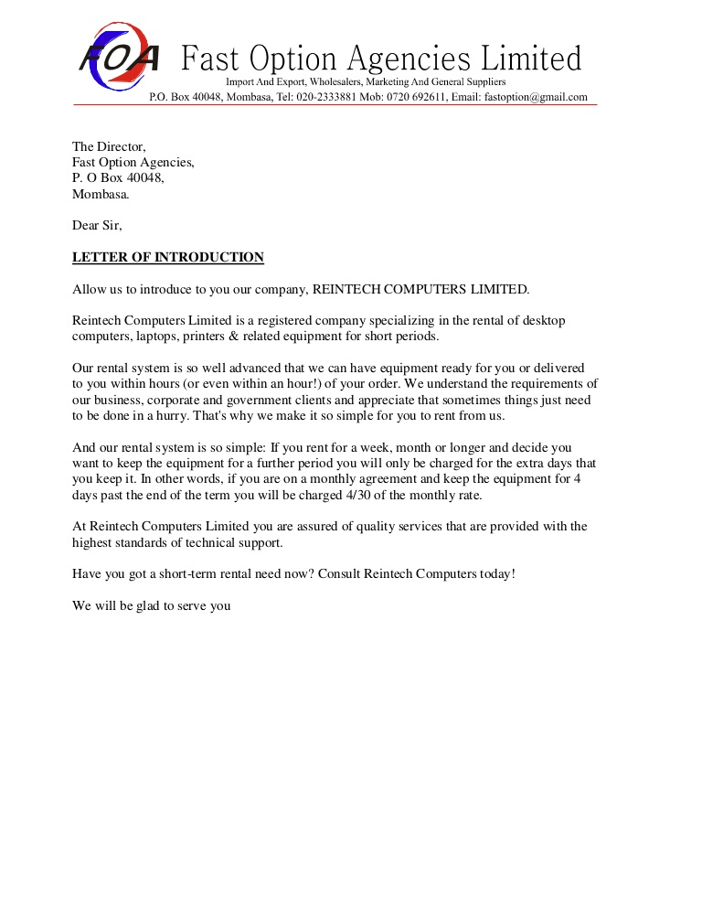 Company Introduction Letter For New Business Scrumps