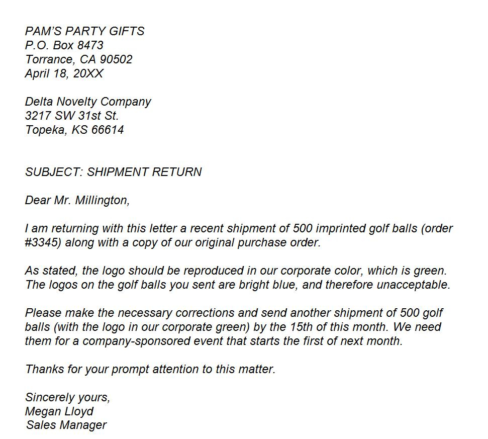 EXAMPLE Business Letter Of Complaint