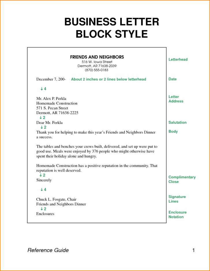 Sample Business Letter Block