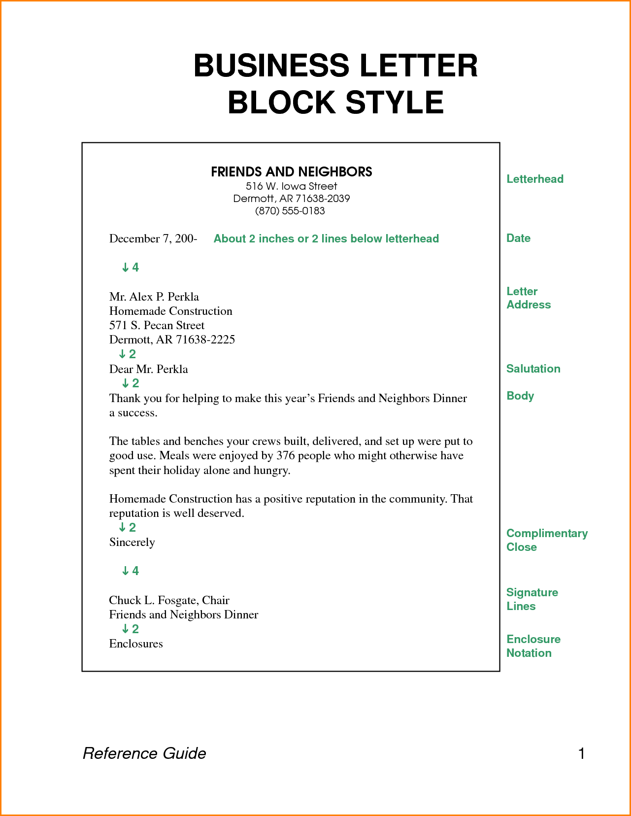 Examples Block Style Business Letters Expense Report