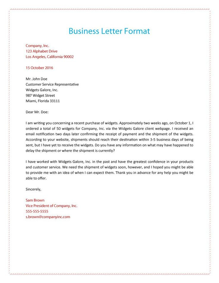 Formal Business Letter 01 Formal Business Letter Format
