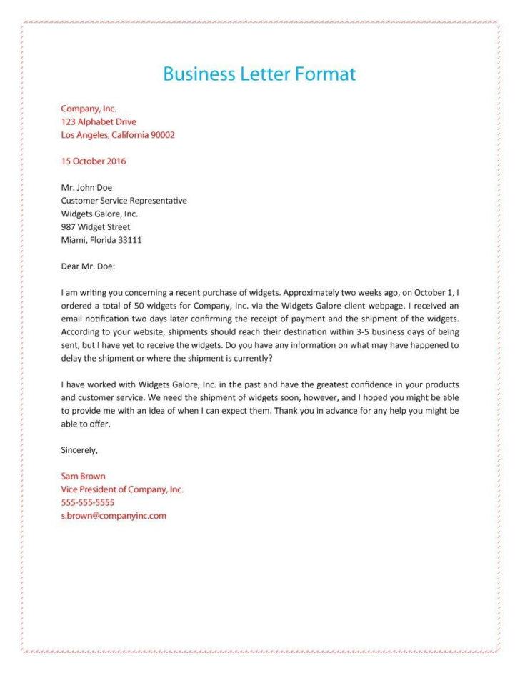 Formal Business Letter Format Sample