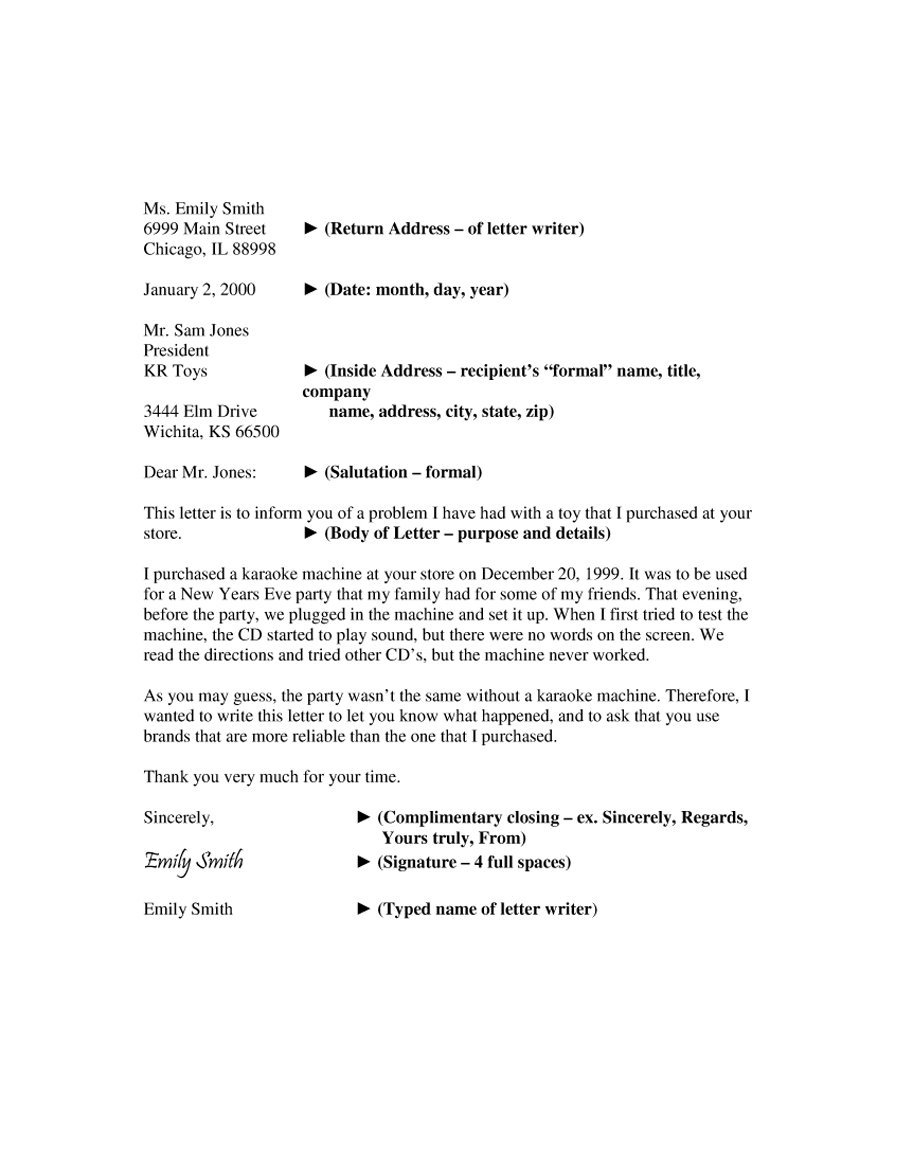 Formal Business Letter Template Task List Templates