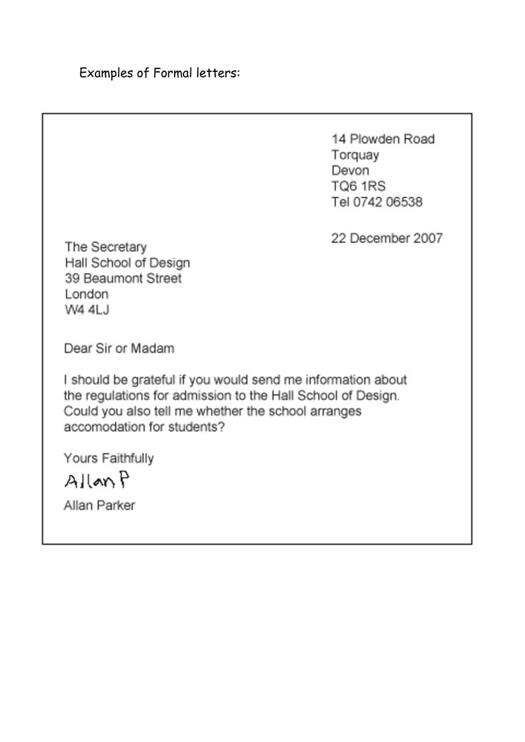 Formal Letter Example Business Letter Template Formal