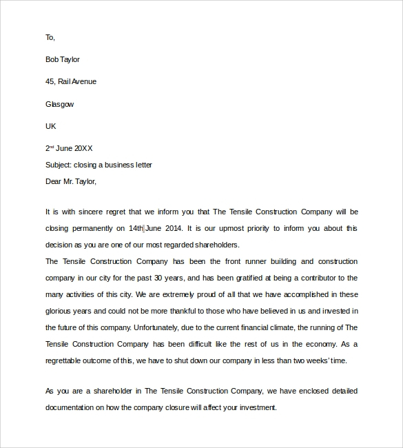 Closing A Business Letter Sample
