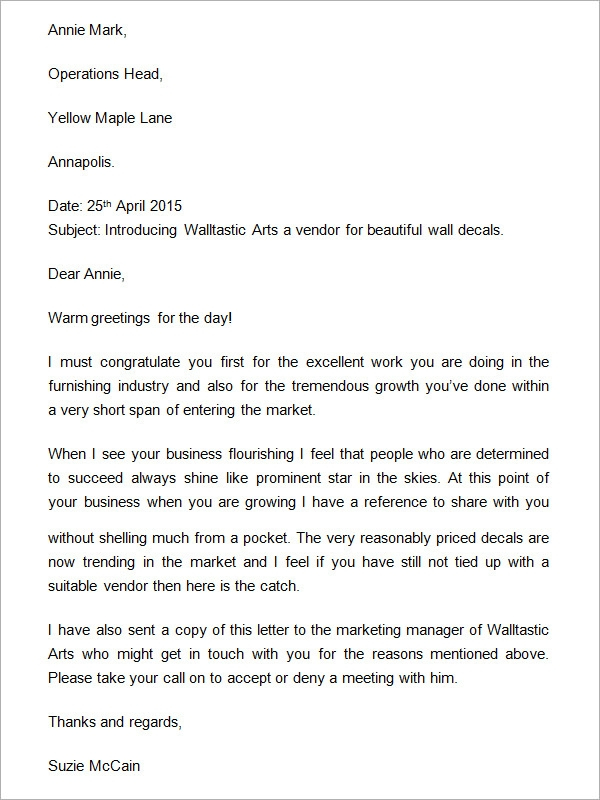 FREE 21 Sample Business Introduction Letter Templates In