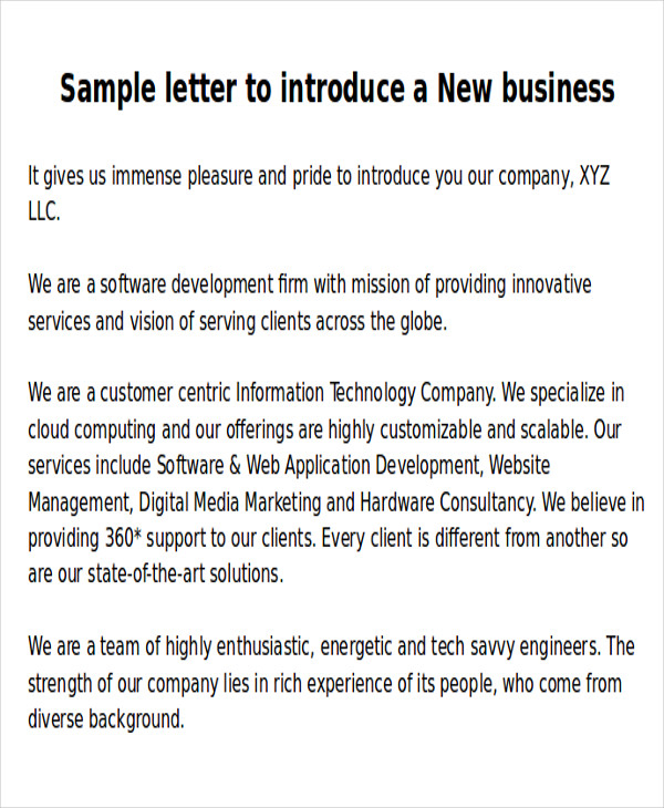 FREE 5 Sample New Business Letter Templates In MS Word PDF