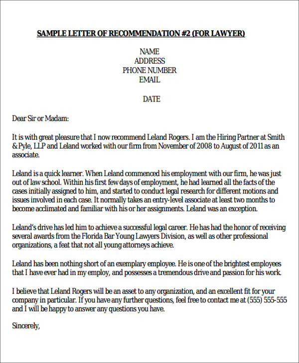 FREE 6 Sample Formal Letter Of Recommendation In MS Word