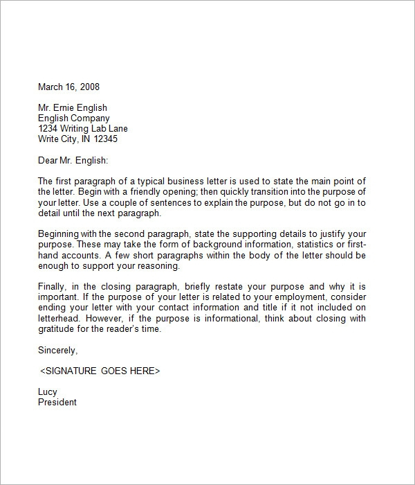 FREE 7 Business Letter Samples In PDF MS Word