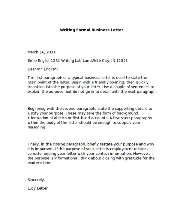 FREE 7 Formal Business Letter Formats In PDF MS Word