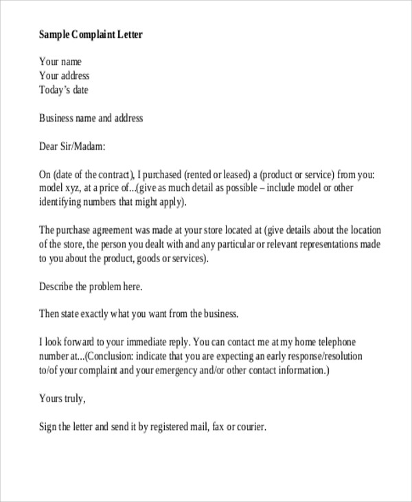 FREE 7 Sample Business Complaint Letter Templates In MS