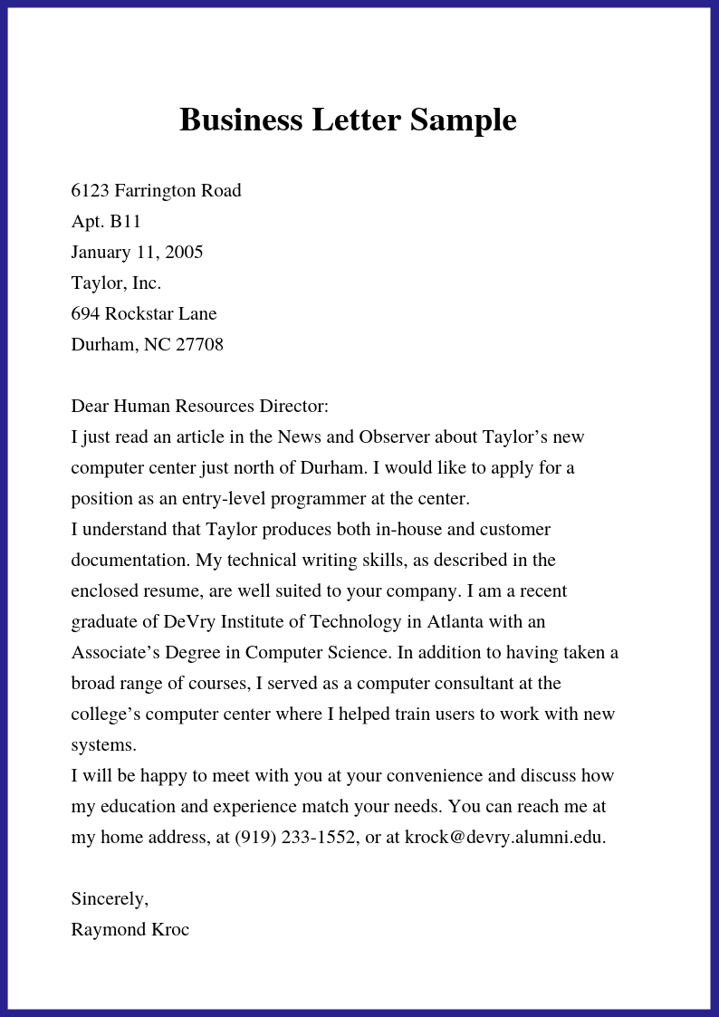Free Business Letter Template In Word Doc PDF Format