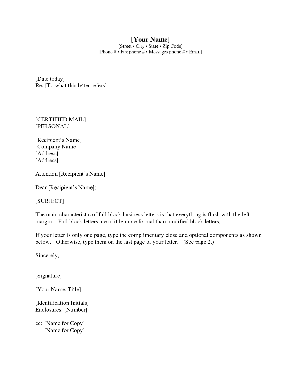 Gallery 1 Business Letter With Cc Business Letter