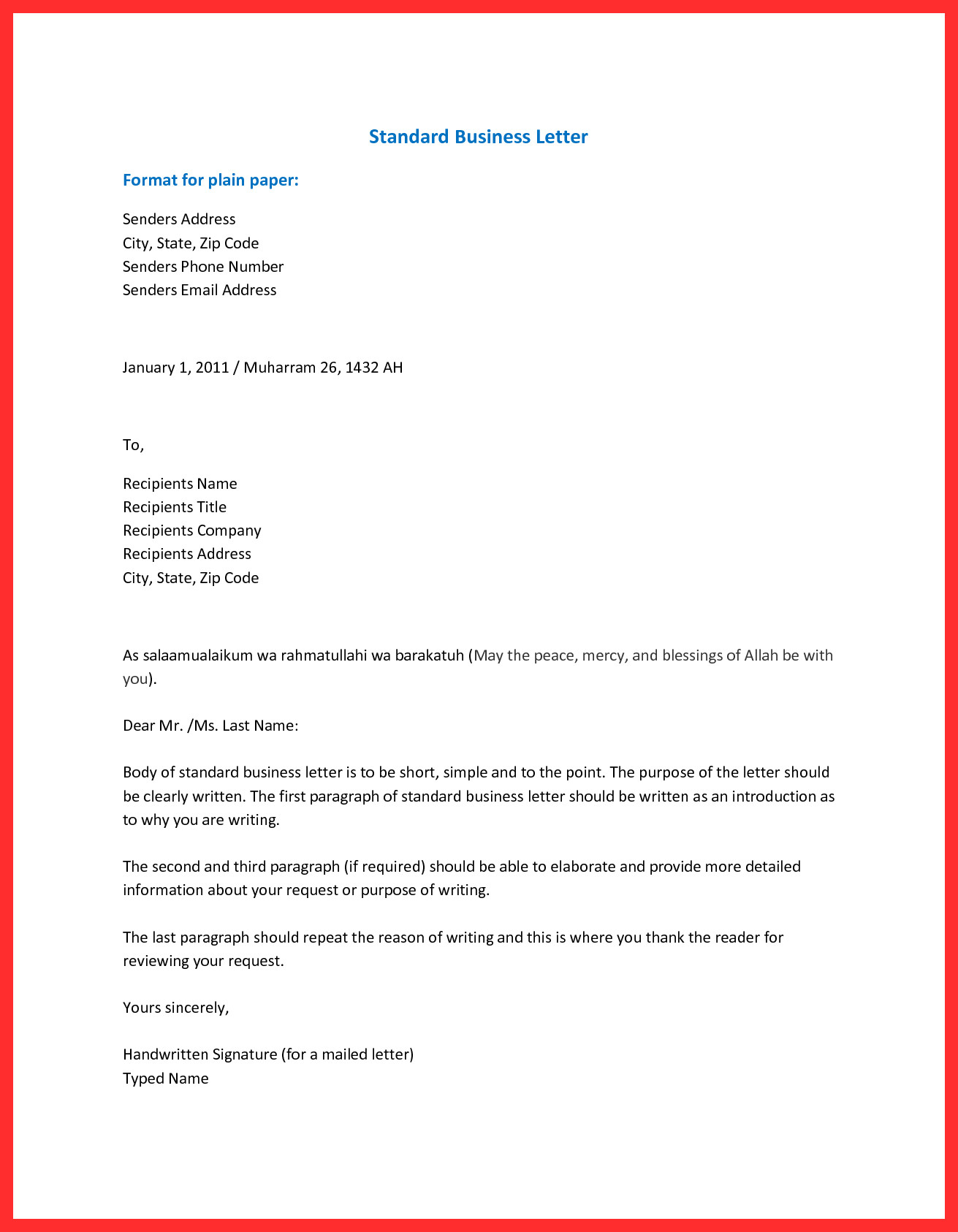 How To Set Up Business Letter Scrumps