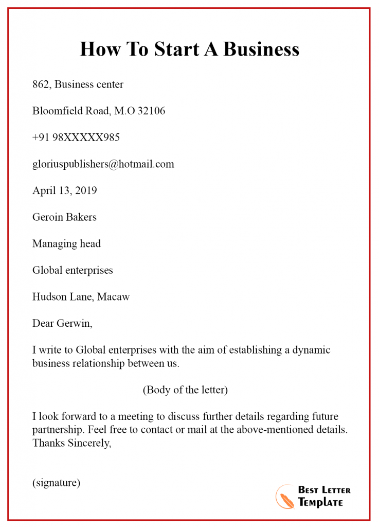 How To Start A Business Letter Email With An Example