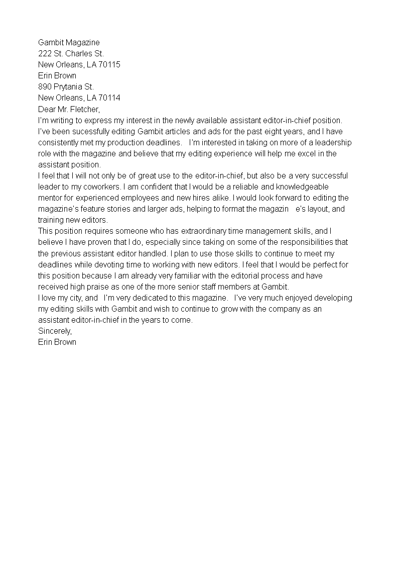 Letter Of Interest For Promotion Templates At