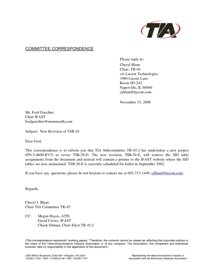Business Letter Template Cc