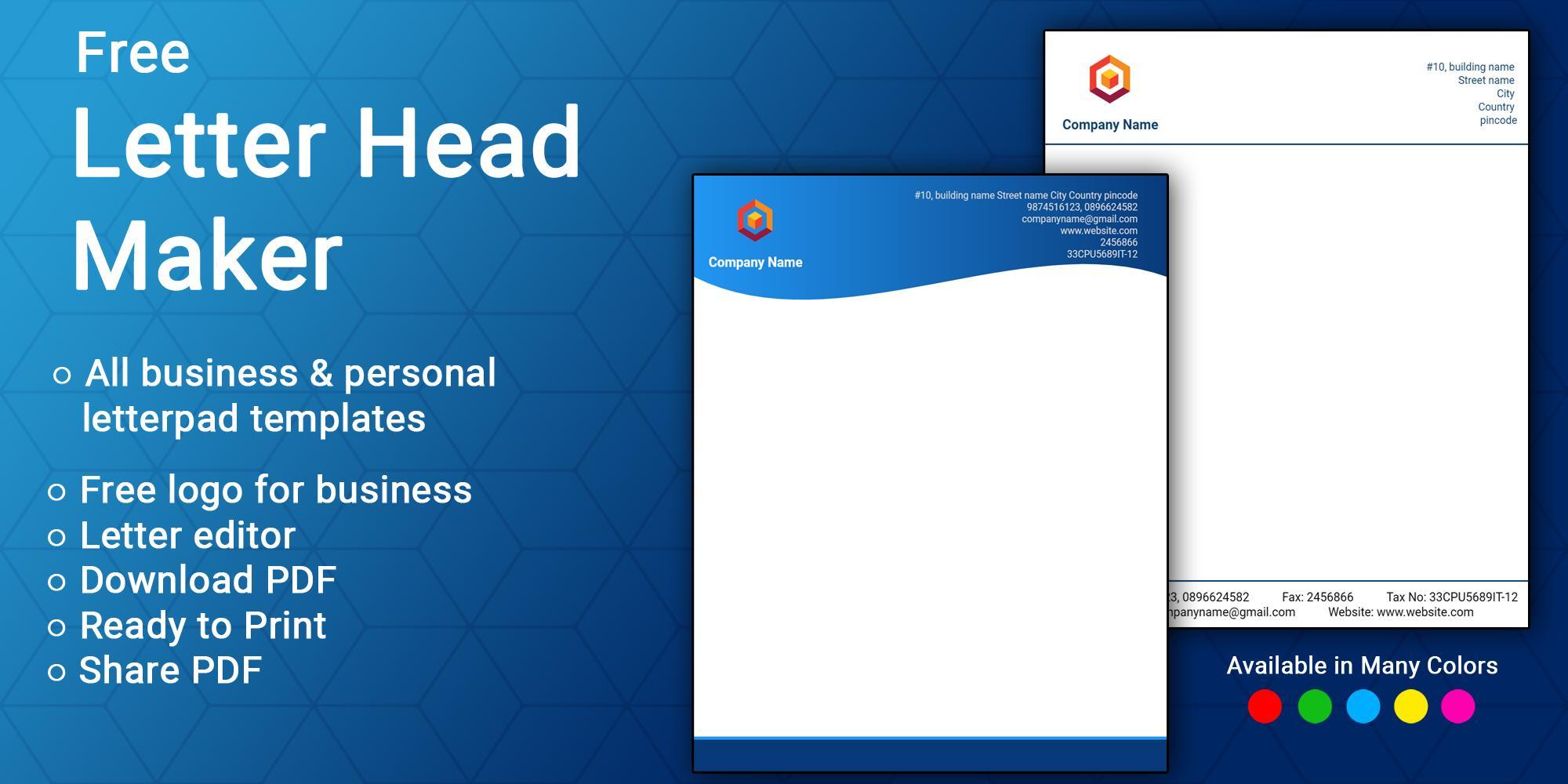 Letterhead Maker Business Letter Pad Template Logo For