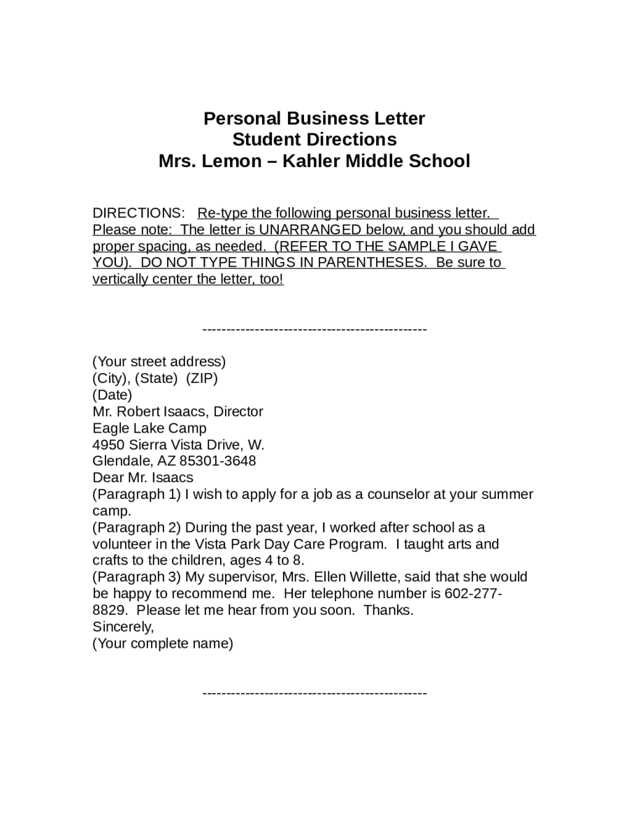 Personal Business Letter Sample Edit Fill Sign Online