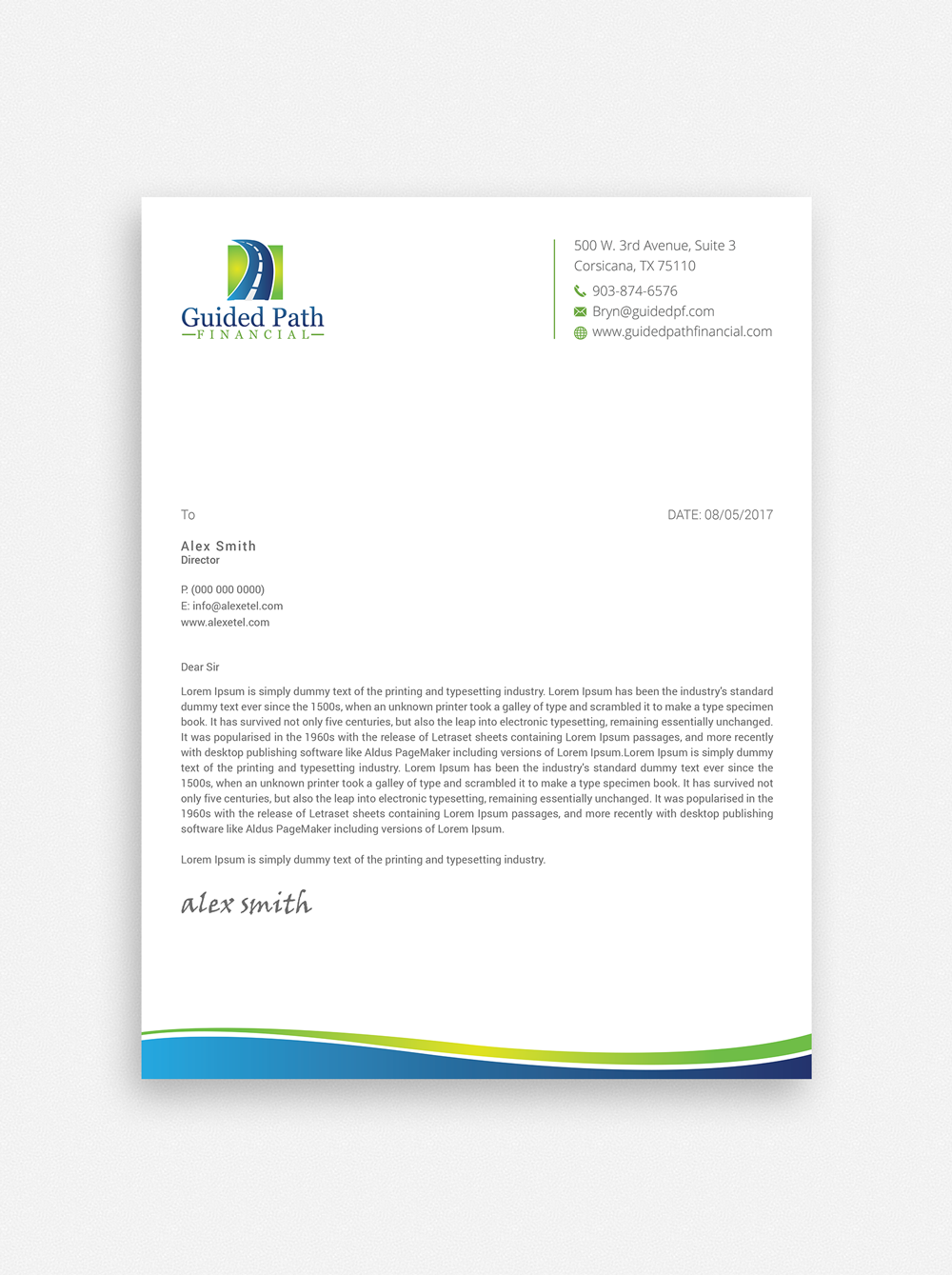 Professional Business Letterhead pdf doc sample formatted