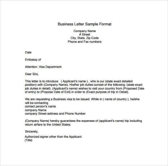 Professional letter template 5 Business Letter Sample