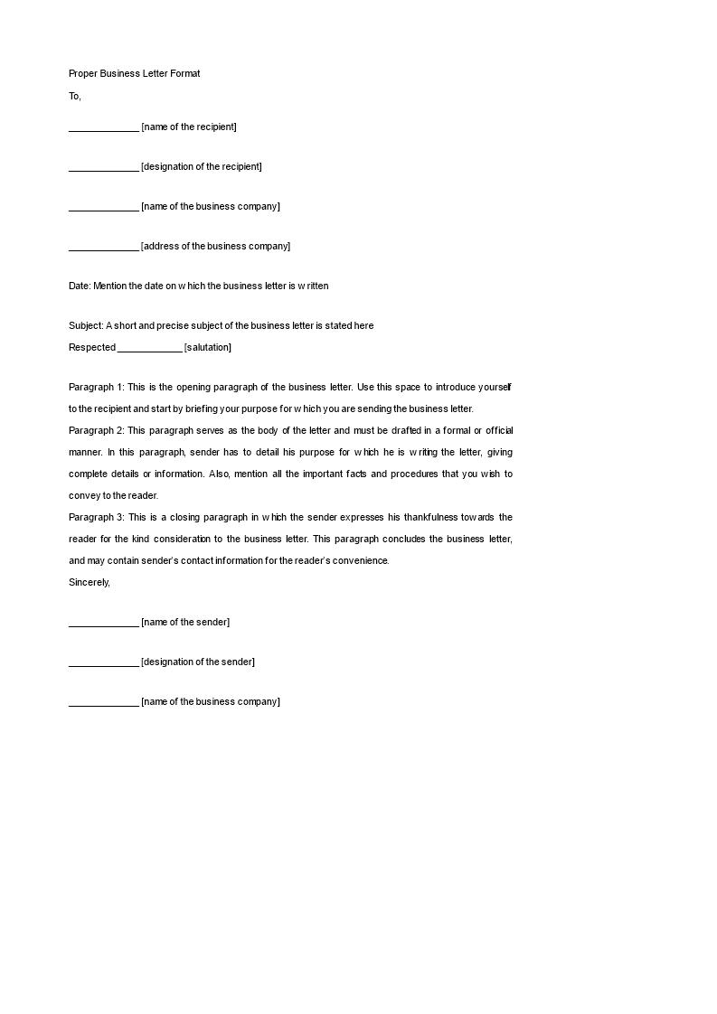 Proper Business Letter Format Templates At