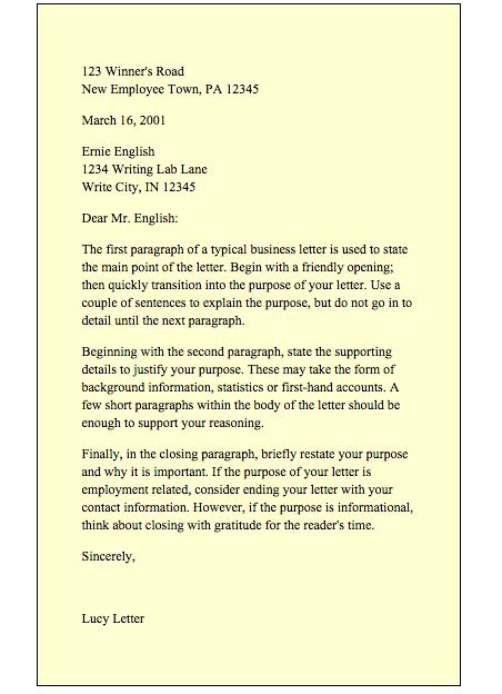 Business Letter Format Purdue Owl